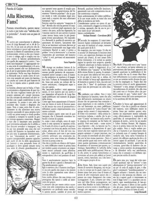 """Articolo """"ALLA RISCOSSA, FANS!"""", tratto dal n. 71 della rivista Comic Art"""