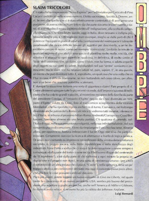 Editoriale scritto da Luigi Bernardi del n. 3 della rivista Nova Express